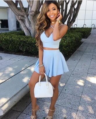 dress liane v blue dress two piece dress set summer dress two-piece mini skirt crop tops halter top light blue