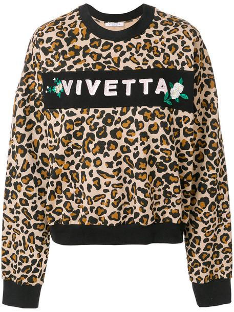 Vivetta - leopard print logo sweatshirt - women - Cotton - 42, Brown, Cotton