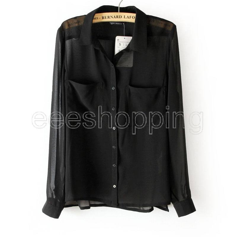 Q429 Women Ladies Long Sleeve Casual Sexy See through Sheer Chiffon Button Shirt Blouse Top Pocket Solid Design Black Blue Green-in Blouses & Shirts from Apparel & Accessories on Aliexpress.com | Alibaba Group