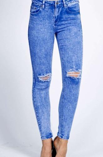 jeans blue acid wash blue skinny jeans