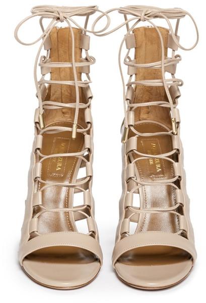 Caged 'amazon' Up Leather Beige Lace Aquazzura Sandals dthrQsC