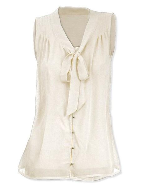 blouse white beige gold bow chiffon cute beautiful