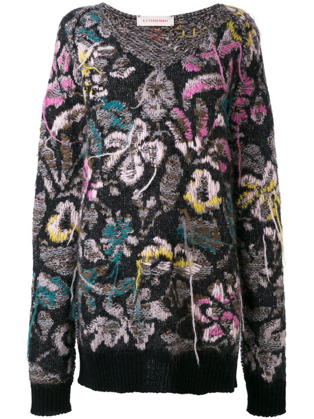 jumper women floral wool knit sweater