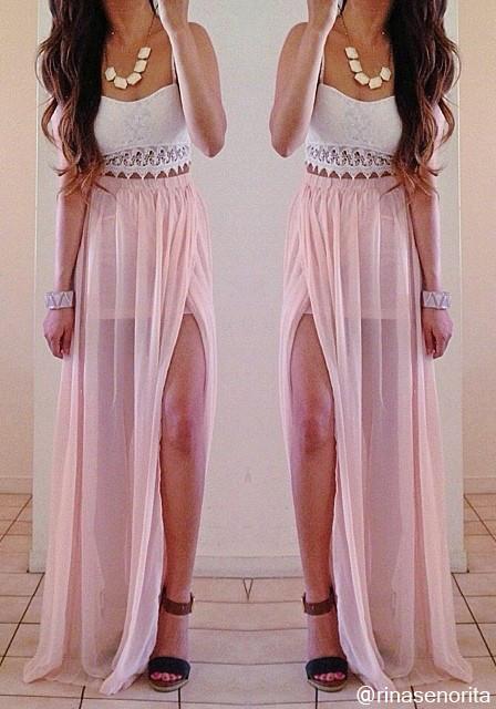 Maxi Skirt - Pink - Bottom | Lookbook Store