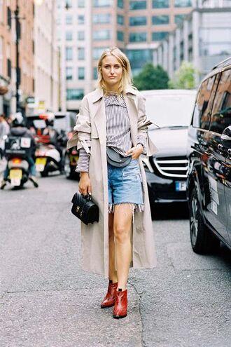 coat tumblr nude coat long coat duster coat shirt stripes striped top boots red boots ankle boots shorts denim shorts bag black bag