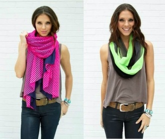 scarf neon green pink scarves