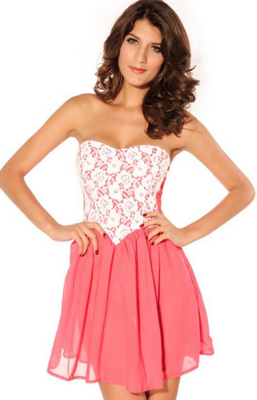 dress prom dress pink pink dress fashion cute dress cute lace mini dress lace dress crochet crochet dress tube top strapless strapless dress