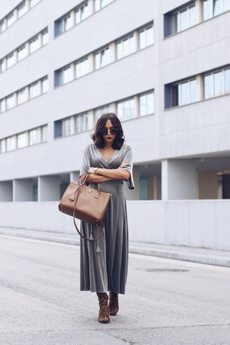 dress grey dress velvet tumblr maxi dress long dress velvet dress bag boots leopard print