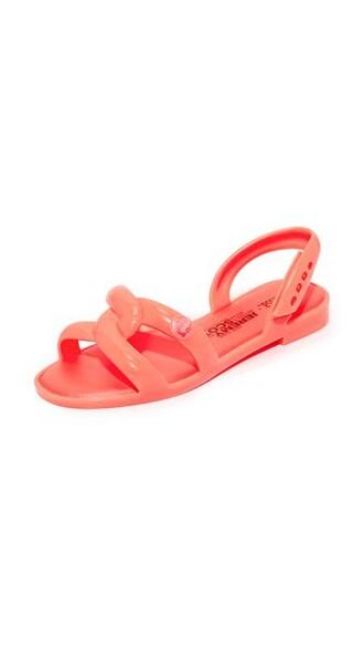 neon sandals orange shoes