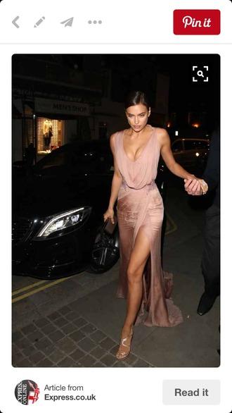 dress blush dress satin dress long dress taupe purple dress blush pink slit dress