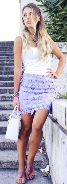 skirt lace purple
