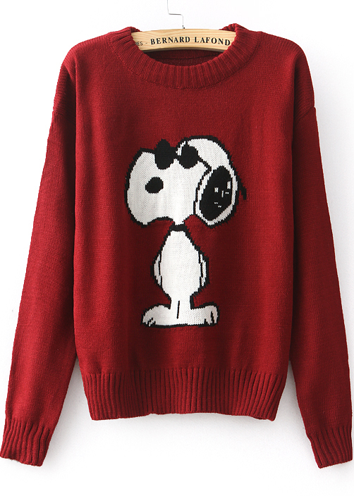 Red long sleeve snoopy pattern knit sweater