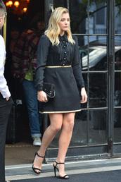 skirt,chloe grace moretz,sandals,mini dress,black dress,dress,shirt,blouse