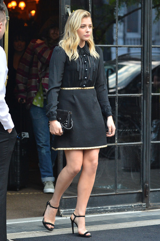 skirt chloe grace moretz sandals mini dress black dress dress shirt blouse