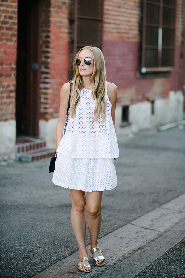 eat sleep wear blogger top bag jewels skirt shoes eyelet top eyelet skirt mini skirt summer outfits summer top sleeveless top white top sunglasses aviator sunglasses black bag shoulder bag