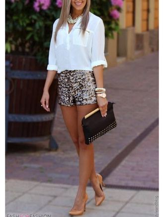 shorts sequin shorts shoes shirt jewels silver shorts bag pearl necklace fashion glitter watch black bag
