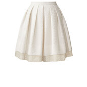 skirt,textured flower jacquard pleated skirt