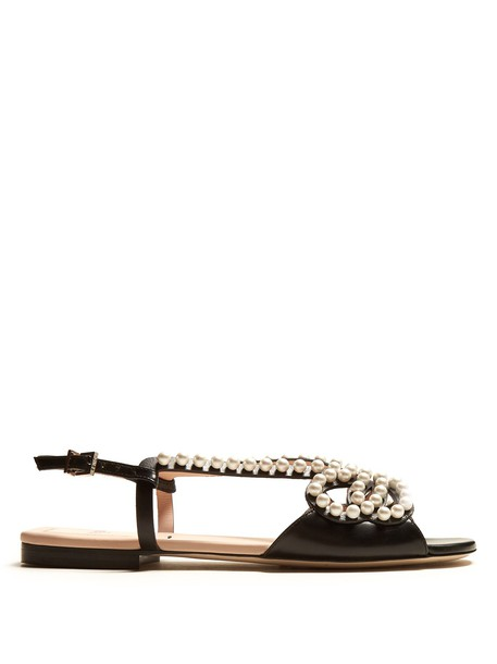 Fendi pearl embellished sandals leather sandals leather white black shoes
