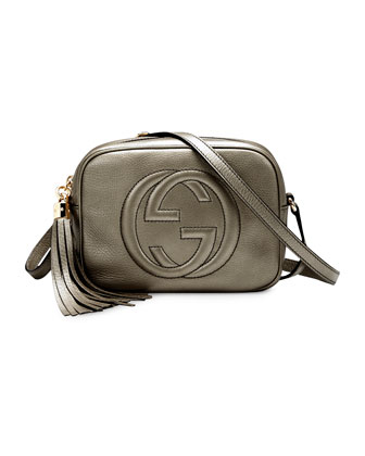 Gucci Soho Metallic Leather Disco Bag, Pewter - Neiman Marcus