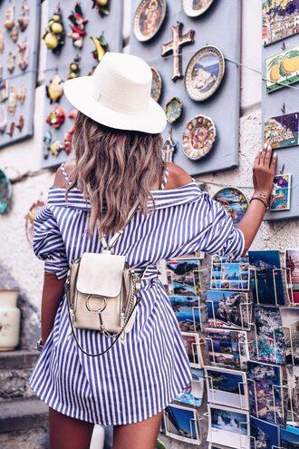 bag blogger blogger style mini bag stripes summer hat tumblr bag mini backpack shirt dress
