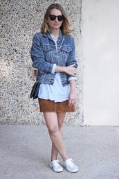 jane's sneak peak,blogger,suede skirt,denim jacket,blue grey black green striped sweater,striped shirt