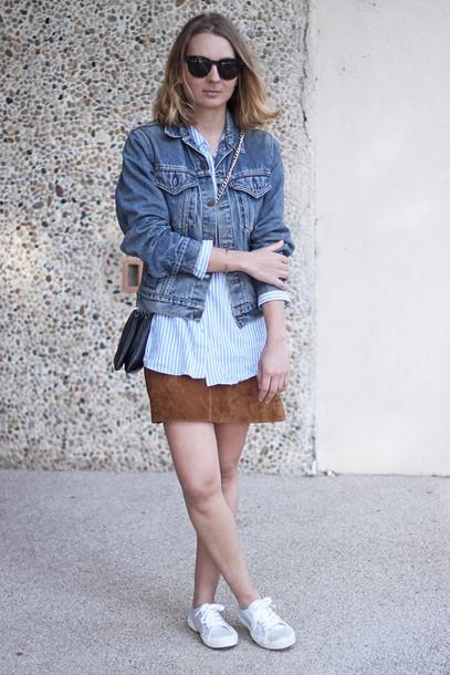 jane's sneak peak blogger suede skirt denim jacket blue grey black green striped sweater striped shirt