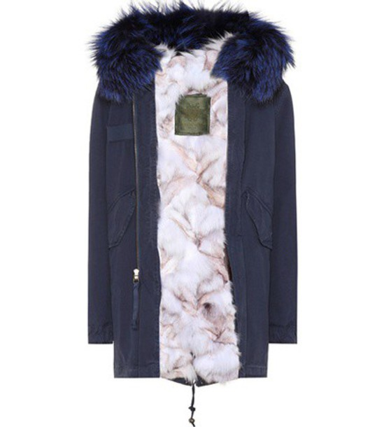 parka fur cotton blue coat