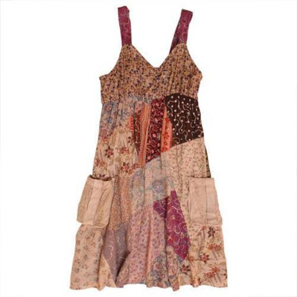 Dress: boho, bohemian, gypsy, pattern, patch, top, blouse ...