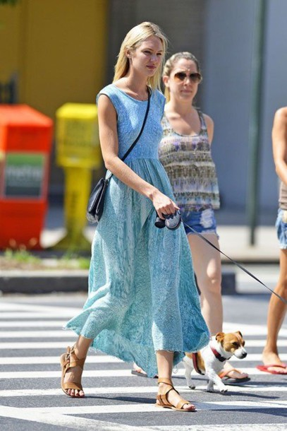 dress candice swanepoel blue dress maxi dress victoria's secret model print baby blue model