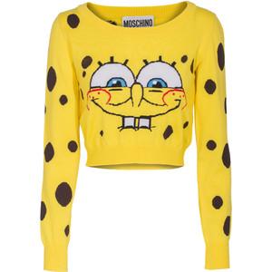 Moschino spongebob crop yellow cropped virgin wool sweater with motif