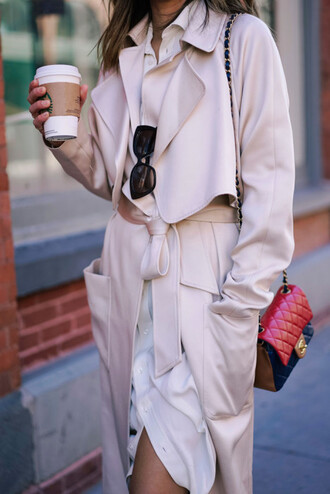 song of style blogger chanel chanel bag nude coat beige coat trench coat fall coat quilted bag black sunglasses