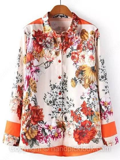 Orange Lapel Long Sleeve Floral Print Blouse - HandpickLook.com