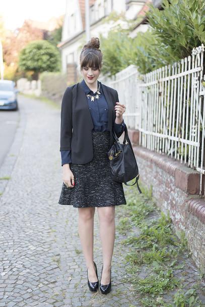 andy sparkles blogger jacket blouse skirt shoes bag jewels