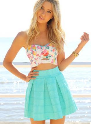 Teal/Turquoise Aline Skirt - Zig-Zag Textured Mint Mini Skater | UsTrendy