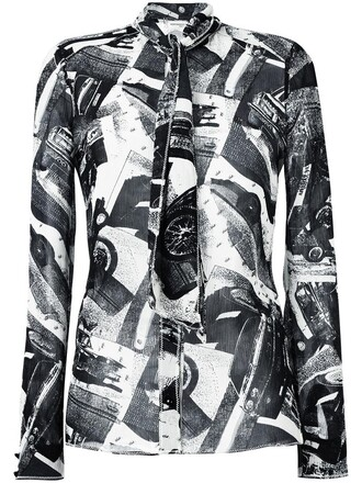 shirt printed shirt women black top