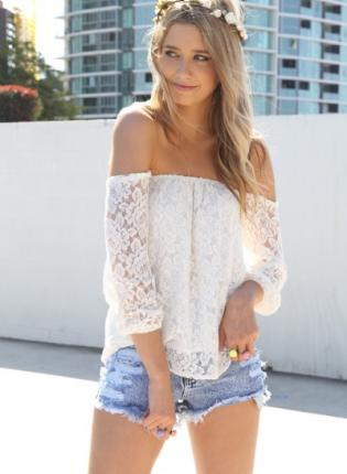 White lace off the shoulder