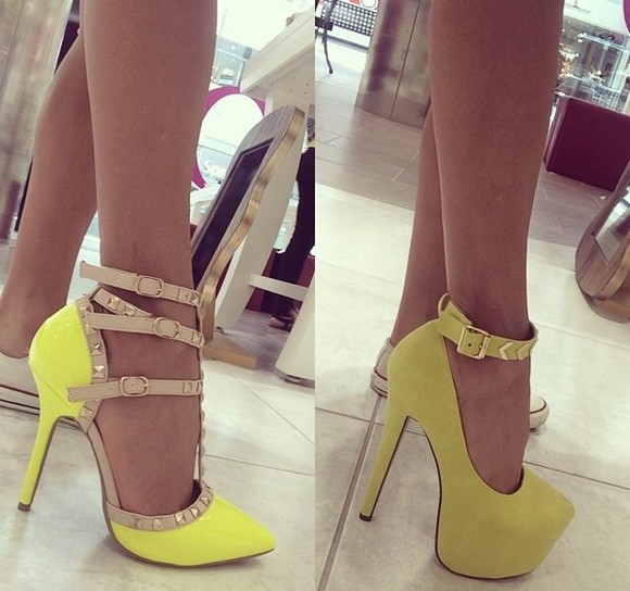 shoes high heels heels, pumps, red, shoes, high heels, pump ankle straps studded heels yellow pumps yellow heels yellow green neon yellow heels neon yellow pumps party instagram store online store shopping cute shoes going out heels party shoes cute high heels going out going out out clutch