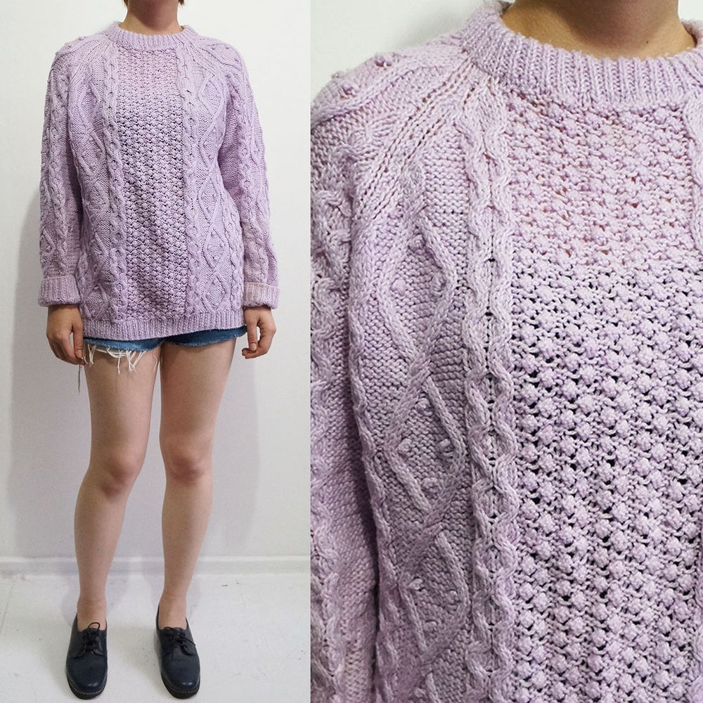 VINTAGE 80S LILAC CABLE ARAN KNITTED JUMPER 8-12 | eBay