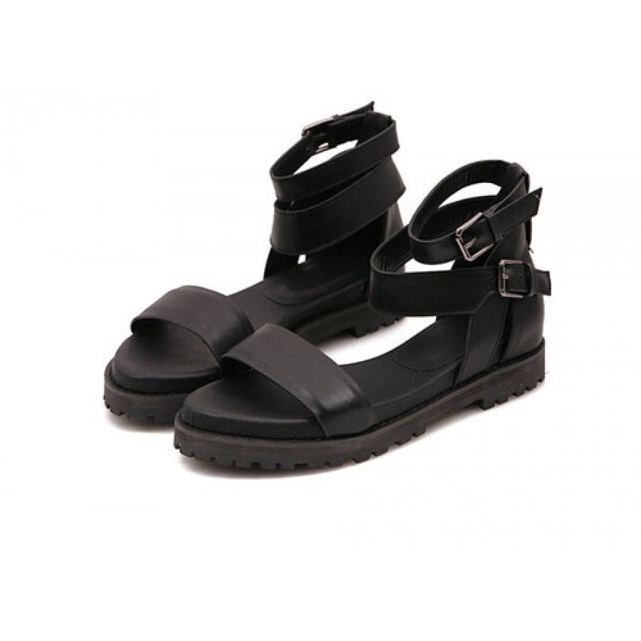 Black Leather Strappy Flatform Sandals