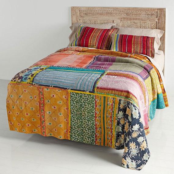 Vintage Kantha Patchwork Quilt Blanket Throw Queen Bedding