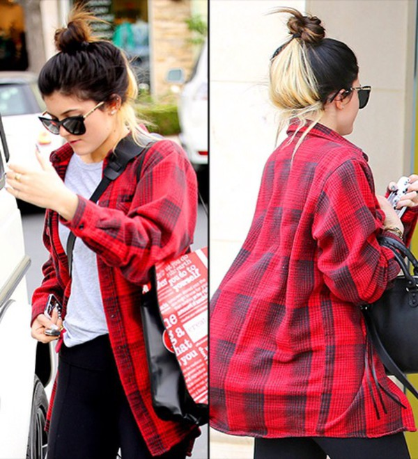 jacket kylie jenner red flannel shirt flannel blouse flannel shirt