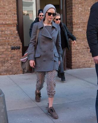 pants jennifer lawrence shoes flats sunglasses coat