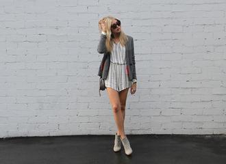 modern ensemble blogger romper sweater shoes bag sunglasses jewels