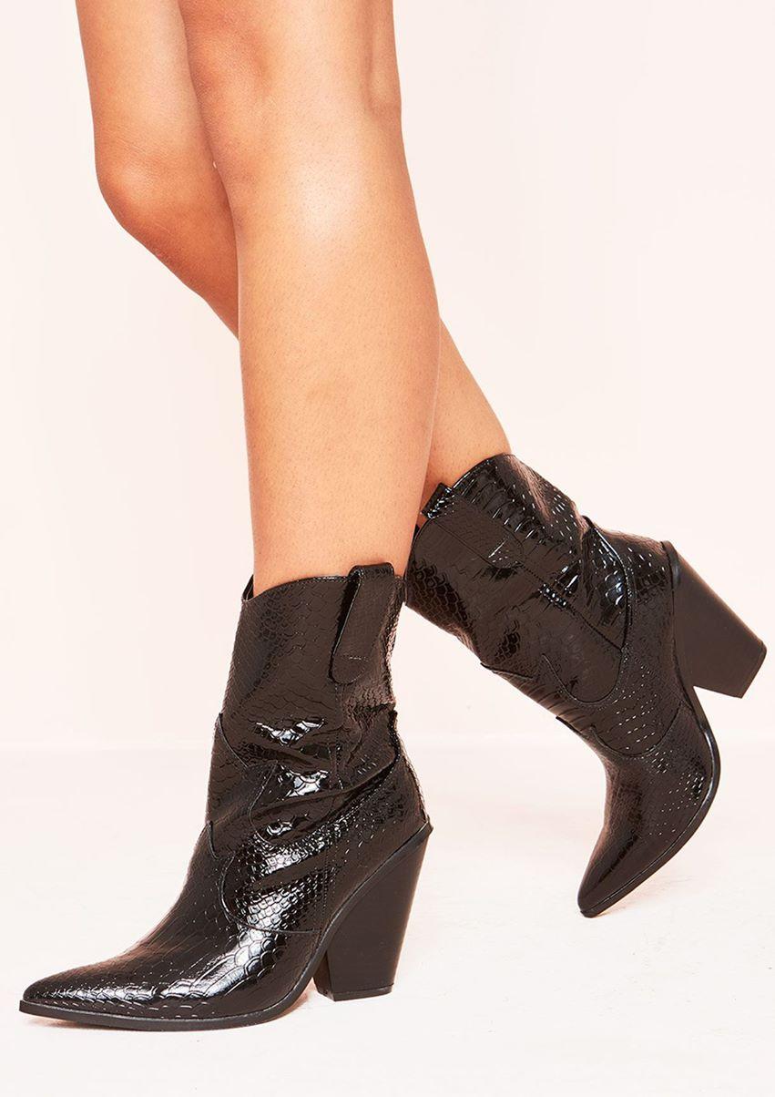 Klarna Black Patent Croc Print Chunky Cowboy Boots
