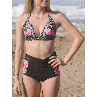 swimwear rose wholesale floral black high waisted high waisted bikini beach