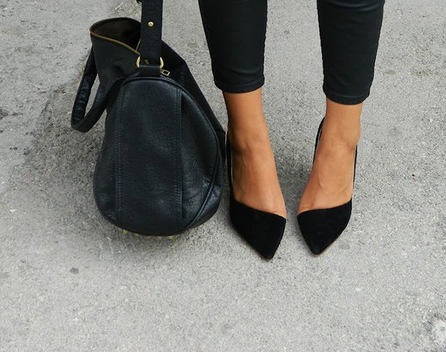 Fancy - Asymmetric Black Suede Pumps
