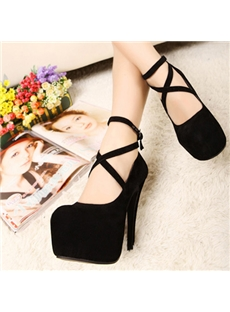 Best Quality Black Cloth Upper Platform Stiletto Heels Pums with Cross&Ankle Straps : tidestore.com