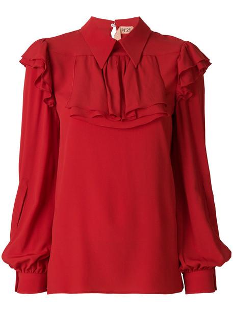 No21 blouse ruffle women silk red top
