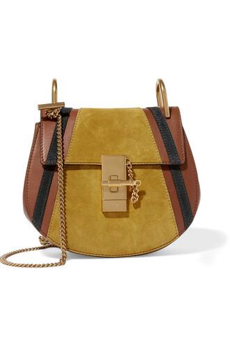 mini light bag shoulder bag leather suede brown