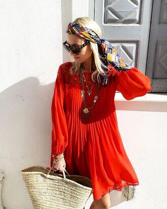 dress red dress handbag beige handbag bag